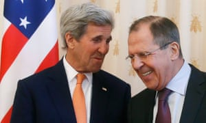 John Kerry, left, and Russian foreign minister Sergei Lavrov on Thursday.