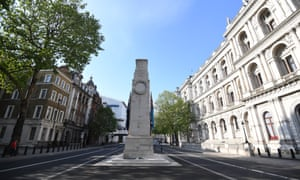 The cenotaph stands in a locked-down Whitehall on VE Day.