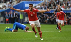 Hal Robson-Kanu celebrates after putting Wales back in front.