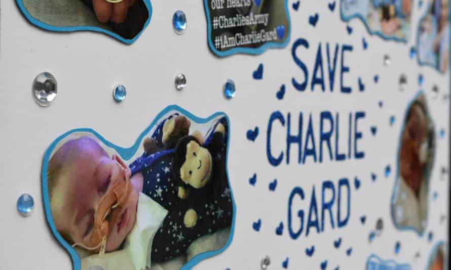 A poster set up by supporters of the family of Charlie Gard outside the Royal Courts of Justice
