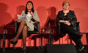 Lisa Nandy (left) and Emily Thornberry during the Labour leadership hustings in Nottingham