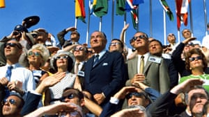Former President Lyndon Johnson and Vice President Spiro Agnew view the lift off of Apollo 11 from the stands located at the Kennedy Space Centre VIP viewing site.