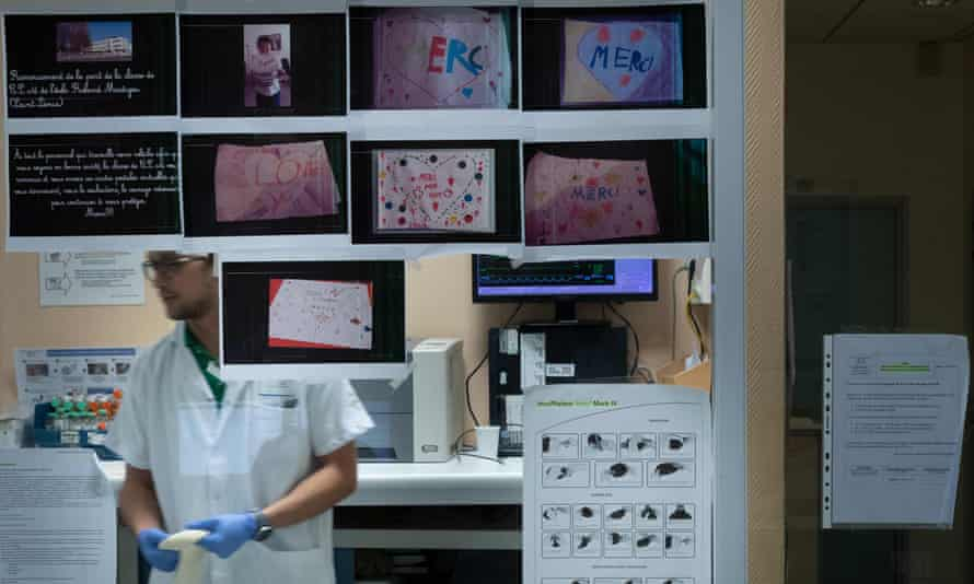 Children's drawings and messages are displayed in support of health workers during the Covid-19 pandemic, at the emergency department of the Delafontaine hospital in Saint-Denis, Paris.