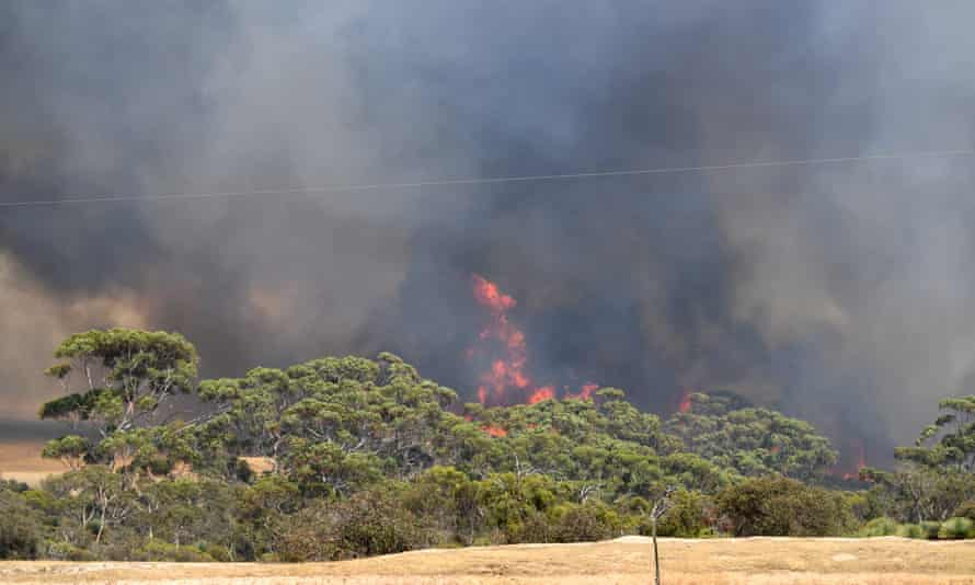 A bushfire sweeps through Stokes Bay on Kangaroo Island
