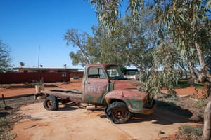 An old Bedford truck, once used for drilling bores back when Pilungah was a cattle station, sits near the homestead