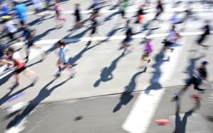 New York City Runners cross the Verrazano-Narrows bridge during the New York City marathon.
