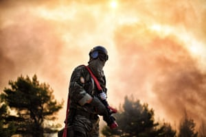 Kalamos, GreeceA firefighter works to extinguish a fire east of the Greek capital Athens. The army was called in to assist firefighters where a fire has been burning since August 13