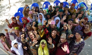Women in Tajikistan involved in a workshop project that aims to tackle domestic violence