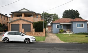 Duplex properties next to older style homes in Revesby