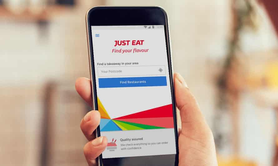 Phone showing Just Eat app