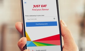 Just Eat app on mobile phone