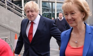 Boris Johnson and Andrea Leadsom arrive at Wembley Arena for the BBC's referendum debate at Wembley during the campaign.