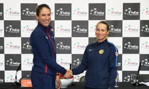 Johanna Konta and Yulia Putintseva shake hands at the Copper Box Arena. The Kazakh player knocked Konta out of the French Open in 2018.