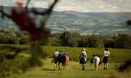 Pack horse trekking and camping in Powys countryside, Wales