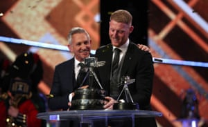 Ben Stokes accepts the BBC Sports Personality of the Year Award.
