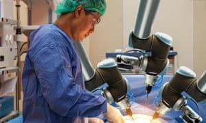 Automation robot hand machine in operating room and surgery doctor