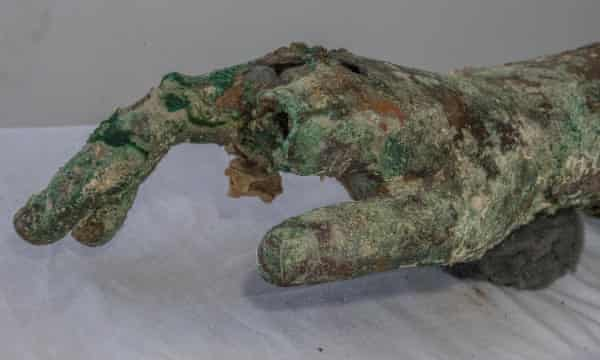 Detail of the arm discovered under half a metre of sediment by the ancient shipwreck.