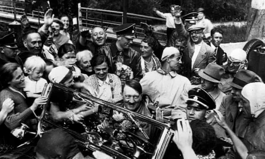 Adolf Hitler drives into Berchtesgaden, in the Bavarian Alps, in 1934.