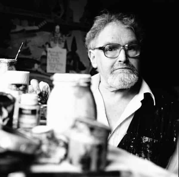 Alasdair Gray in his studio.
