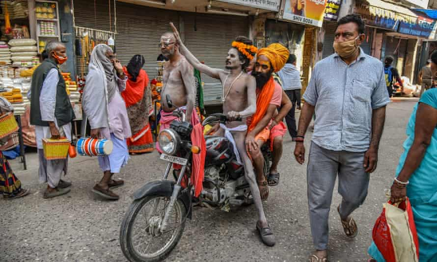 Indian holy men on their way to the Ganges River during the Kumbh Mela at Haridwar, Uttarakhand.