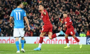 Dejan Lovren of Liverpool celebrates after scoring his team's equaliser.