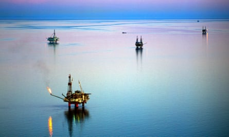 Offshore oil and gas production in the Cook Inlet oilfield of Alaska.