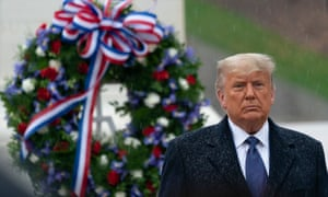 Trump on Wednesday at a Veterans Day remembrance service.
