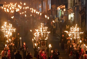 Lewes, EnglandParticipants parade through the town during the annual Bonfire Night festivities