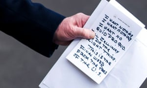 A close-up view of US President Donald J. Trump's notes.