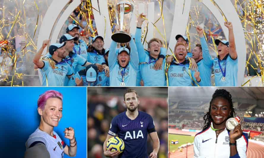 Clockwise from top: Eoin Morgan lifts the 2019 Cricket World Cup; GB's Dina Asher-Smith with her 200m world championship gold; Harry Kane; Megan Rapinoe.