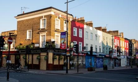 Boarded-up shops in Camden, London
