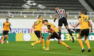 Newcastle United's Jamaal Lascelles scores their first goal.