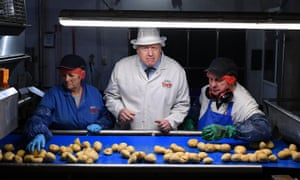 Prime Minister Boris Johnson during an election campaign visit to the Tayto Castle crisp factory on November 07, 2019 in County Armagh, Northern Ireland.