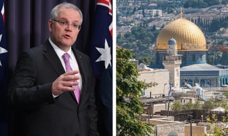 A composite of Scott Morrison and Jerusalem