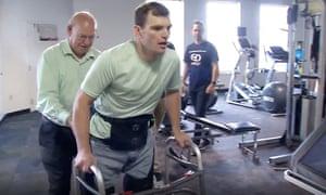 lyle fleming walking using a robotic exoskeleton
