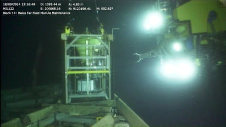A remotely operated vehicle approaches one of the two observatory platforms used to monitor the fish, in water 1,400m deep off the coast of Angola.