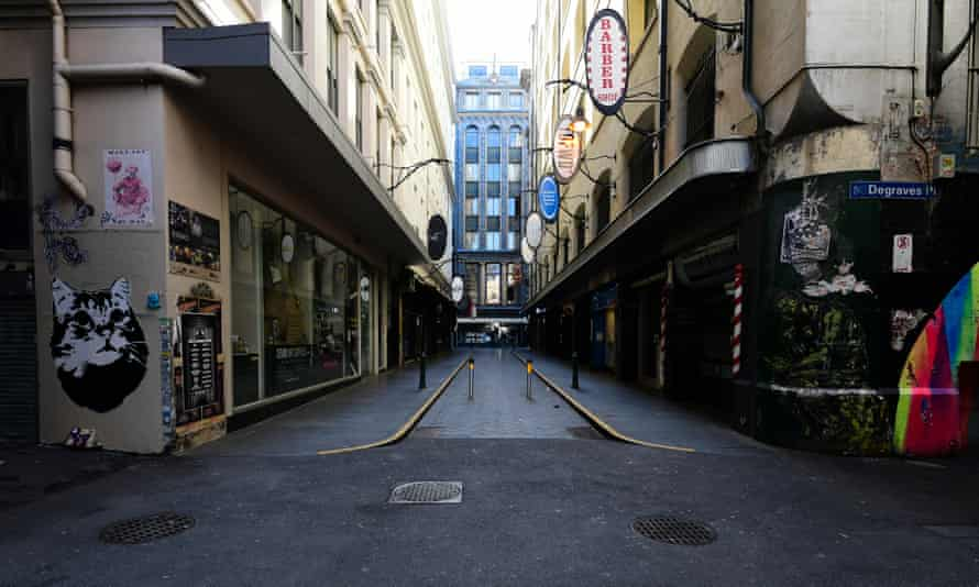 An empty street in Melbourne, Friday, 28 August, 2020 under stage four coronavirus restrictions.