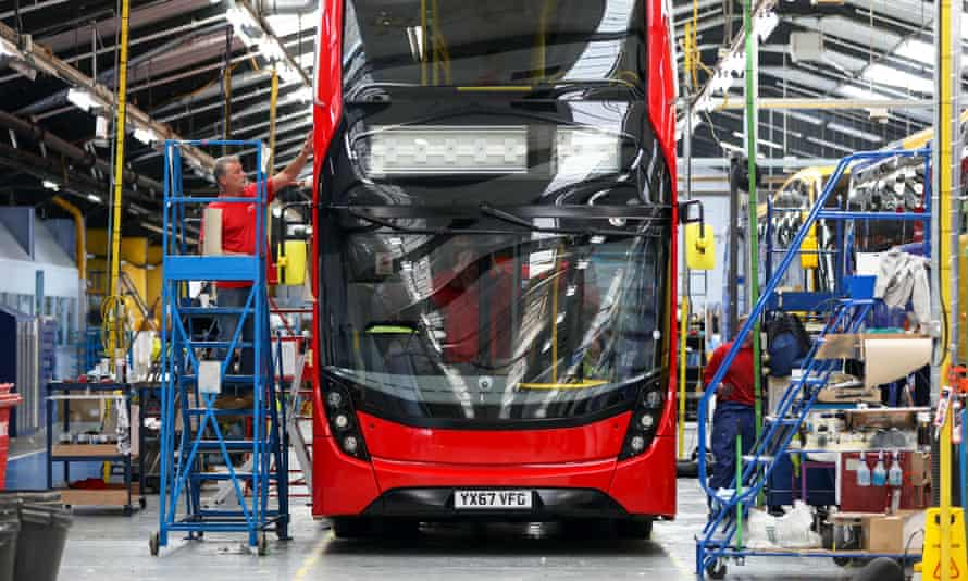 A bus being built at the Alexander Dennis factory in Scarborough