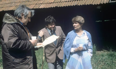 Don Leaver (left) on set with Michael Williams and Judi Dench in 1984, during filming of the ITV series A Fine Romance.