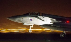 An RAF Tornado lands after joint allied operations in Syria.