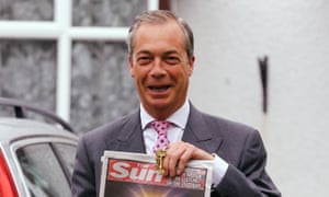 Nigel Farage with a copy of the Sun.
