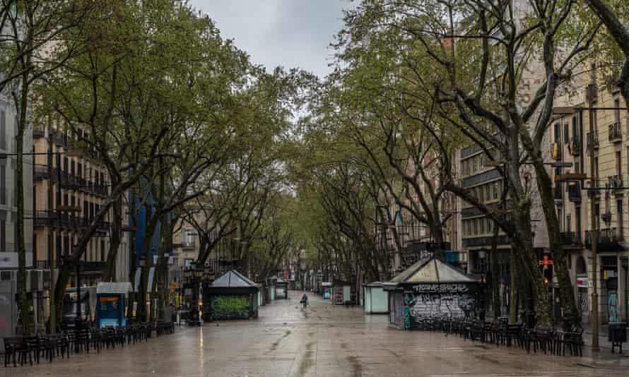 An empty Las Ramblas, Barcelona.