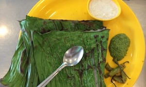 Panki, a rice and dill pancake steamed between two banana leaves served with a hot and lemony coriander chutney, served at Swati Snacks, Mumbai