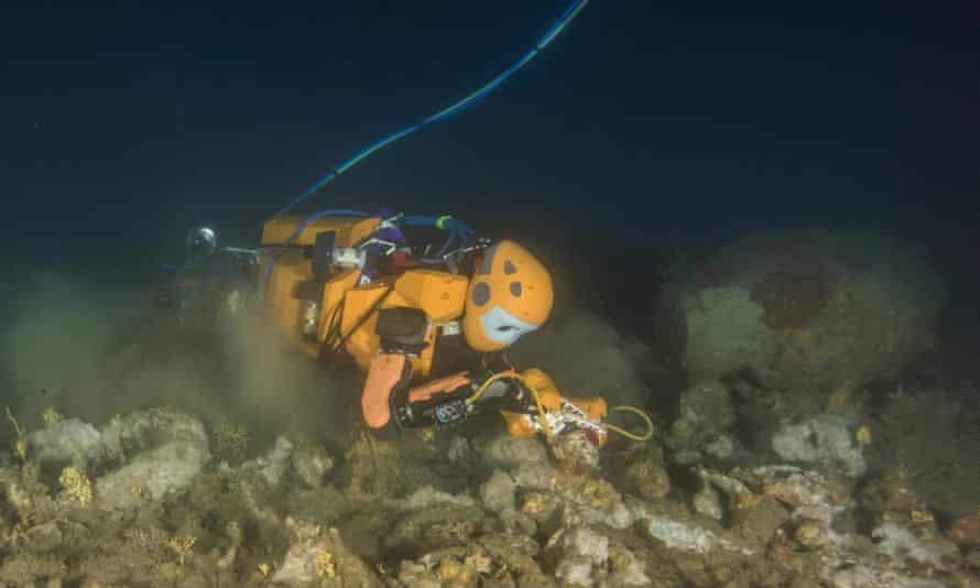 The OceanOne robot recovers treasures from King Louis XIV's wrecked flagship.