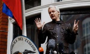 Julian Assange on the balcony of the Ecuadorian embassy in London, 19 May 2017.