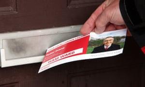 A leaflet for Labour council leader, Tudor Evans