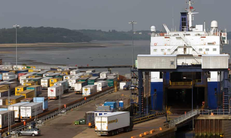 Freight trucks at the port of Harwich, Essex.