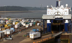 Harwich docks, where border officials searched the four lorries.