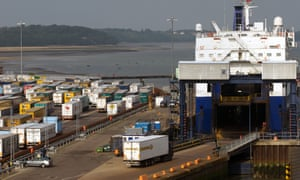 A Stena Line ferry at Harwich in Essex, one of eight ports that will be used.