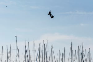 Franky Zapata manoeuvres a flyboard over the new boat Sodebo ultim 3